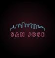 san jose skyline neon style in editable file vector image