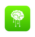 sensors on human brain icon digital green vector image