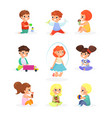 set cute kids playing vector image