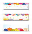 Set of Colorful Umbrella Autumn Rain Banner vector image vector image