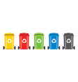 set of recycle bins with recycle symbol isolated vector image
