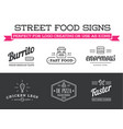 set of street food fastfood signs with icons can vector image vector image