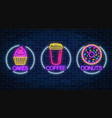 set of three neon glowing signs of donut cakes vector image vector image
