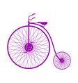 silhouette of vintage bicycle in purple design vector image vector image