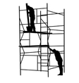 Silhouette worker climbing the ladder vector image vector image