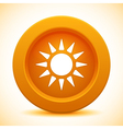 Sun orange button vector image
