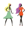 Two beautiful girls walking flat vector image vector image
