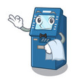 waiter atm machine next to character table vector image vector image