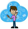 Cartoon man with a smartphone vector image