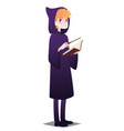 wizard boy with book and magic stick cute young vector image