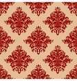 Ornate red vintage damask style seamless pattern vector image