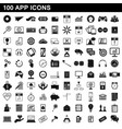 100 app icons set simple style vector image vector image