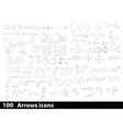 100 hand-drawn arrows icons vector image vector image