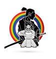 2 samurai composition designed on line rainbows vector image
