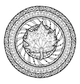 Autumn mandala Tribal doodle with maple leaf vector image vector image