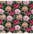 Beautiful watercolor pattern with peonies on black vector image vector image