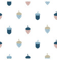 blue scandi acorn simple seamless pattern vector image vector image