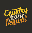 calligraphic lettering for country music vector image vector image