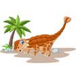 cartoon ankylosaurus dinosaur on white background vector image vector image