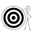 cartoon of man or businessman and big dartboard vector image vector image