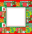 christmas frame with sewed elements vector image vector image