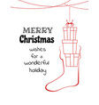 christmas hanging with gift box in the socks vector image vector image