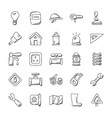 construction doodles pack vector image vector image