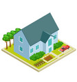 country house with vegetable and fruit garden vector image
