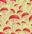 cute sketch amanita mushrooms background vector image