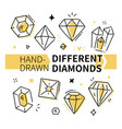 different diamonds - hand drawn outline vector image vector image