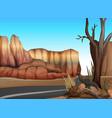empty road in the western desert vector image vector image