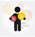 figure man holds symbol percent discounts vector image vector image