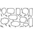 hand drawn set speech bubbles doodle set vector image vector image
