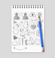 hand drawn social media network icons on realistic vector image vector image