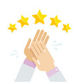 hands applaud positive five star feedback vector image vector image