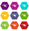 helicopter icon set color hexahedron vector image vector image