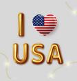 i love usa inscription gold letters vector image