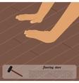 Installing wooden flooring vector image