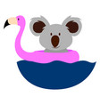 koala in water on white background vector image vector image
