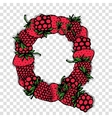 Letter Q made from red berries sketch for your vector image vector image