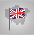 london map and great britain flag on a silver vector image