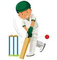Man player playing cricket vector image vector image