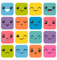 manga style eyes and mouths kawaii cute colorful vector image vector image