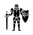 medieval knight with shield and sword glyph icon vector image vector image