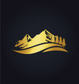 mountain hill travel nature gold logo vector image vector image