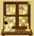 New Year fireworks and window vector image vector image