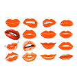 Orange lips collage lips Set of isolated women vector image