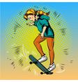 pop art of girl riding vector image