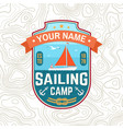 sailing camp patch concept for shirt vector image vector image