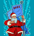santa claus with flag 2021 christmas and vector image vector image